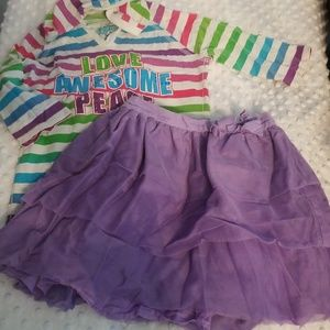 Girls 6x 7 children's place tutu skirt shirt set